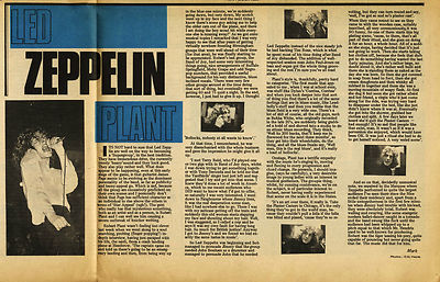 Led Zeppelin Robert Plant Interview Press article/cutting/clipping 1969