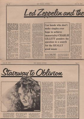 Led Zeppelin & The Stairway to oblivion Vintage Music Press article 1973