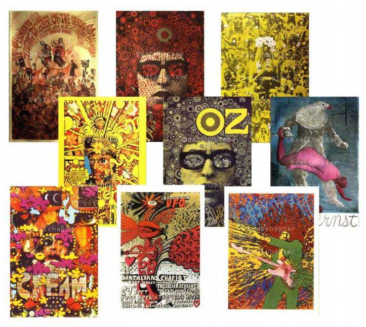 Martin Sharp 9 Postcards Dylan Hendrix Cream Oz magazine No 5  No 7 Plant a Flower Child Psychedelic