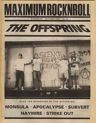 Maximum Rocknroll Magazine No 89 Subvert Monsula Haywire Apocalypse Strike Out October 1990