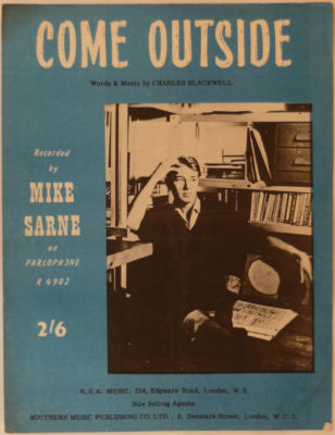 MIKE SARNE Come outside UK Vintage Sheet Music 1962