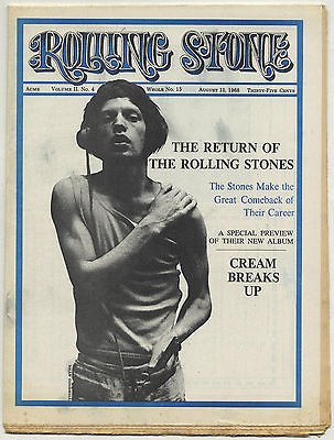 ROLLING STONE Magazine No 15, 10 August 1968 Rolling Stones Beggars Banquet album preview Cream
