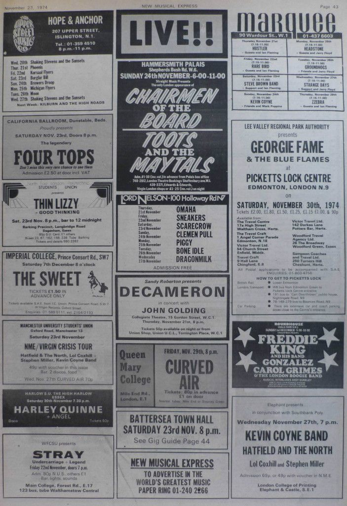 Thin Lizzy Sweet FREDDIE KING Gig adverts page 1974