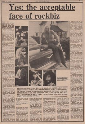 Yes The acceptable face of rockbiz Vintage Music Press article 1973